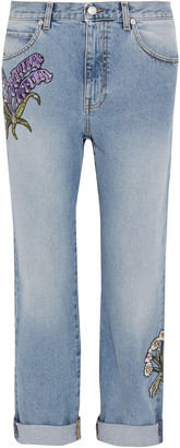 Alexander McQueen Appliqued Distressed Mid-rise Straight-leg Jeans