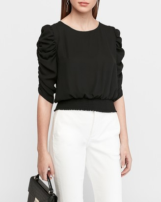 Express Puff Shoulder Cinched Sleeve Smocked Top