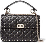 Valentino Rockstud Spike Medium Quilted Leather Shoulder Bag - Black