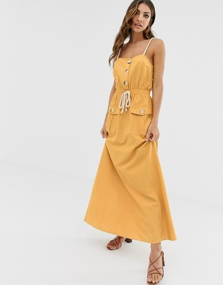 Asos Design DESIGN utility maxi dress with tie waist-Yellow