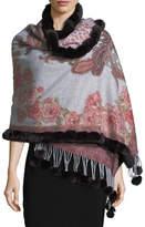 Gorski Multi-Print Cashmere Stole w/ Fur Trim, Red