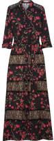 Alice + Olivia Sina Lace-paneled Floral-print Chiffon Maxi Dress - Black