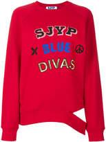 Sjyp distressed logo sweatshirt