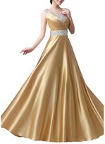 LETSQK Women's Floor Length A-line Satin Surplice Ruched Sequins Prom Dresses M