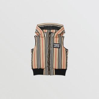 Burberry Detachable Hood Icon Stripe Puffer Gilet