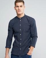 Minimum Justo Grandad Shirt Woven Stripe Slim Fit in Navy