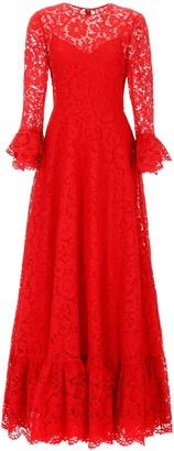 Valentino Heavy Lace Long Ruffle Sleeved Dress