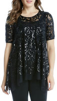 Karen Kane Sequin Embellished Short Sleeve Top