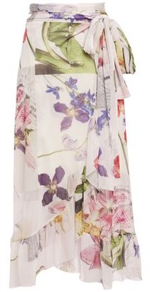 Ganni Floral-print Stretch-tulle Midi Wrap Skirt
