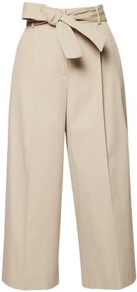 Max Mara Cotton Twill Wide Pants W/ Self-Tie Belt