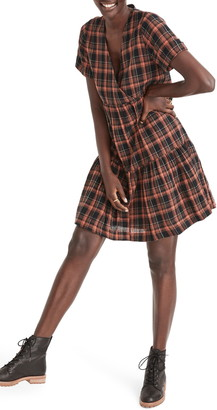 Madewell Plaid Short Sleeve Tiered Faux Wrap Minidress