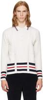 Thom Browne White Cricket Stripe Trompe Loeil V-neck Cardigan Polo