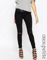 Asos Whitby Low Rise Jeans In Washed Black With Two Displaced Ripped Knees