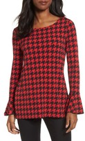 Chaus Women's Houndstooth Trumpet Sleeve Top