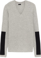 Joseph Twill-paneled Cashmere Sweater - Gray