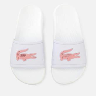 Lacoste Women's Croco Slide 119 3 Sandals - White/Light Pink