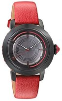 Titan Women's 'HTSE Self Energizing' Quartz Stainless Steel and Leather Watch, Color:Red (Model: 2525NL02)