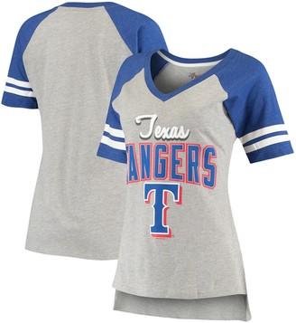 G Iii Women's G-III 4Her by Carl Banks Heathered Gray/Royal Texas Rangers Goal Line Raglan V-Neck T-Shirt