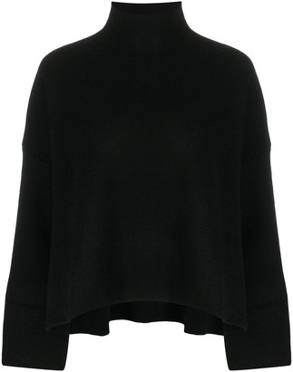 Allude Loose Fit Cashmere-Wool Blend Turtle Neck Jumper