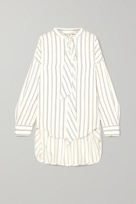 Balenciaga - Pussy-bow Printed Striped Silk-pique Shirt - White