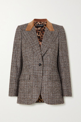 Dolce & Gabbana Velvet-trimmed Prince Of Wales Checked Wool-blend Blazer - Gray