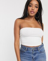 Thumbnail for your product : ASOS DESIGN Hourglass organic cotton bandeau crop top in white