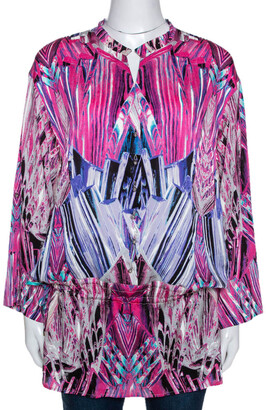 Roberto Cavalli Robert Cavalli Pink Printed Stretch Silk Tunic Top M