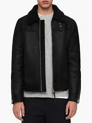 AllSaints Gunstor Shearling Aviator Jacket, Black
