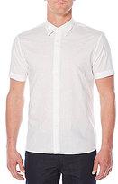 Perry Ellis Tonal Paisley Embroidered Short-Sleeve Woven Shirt