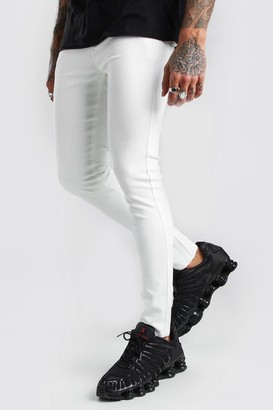 boohoo Mens White Super Skinny Denim Jeans, White