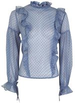 Petite spot ruffle blouse