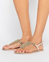 Pieces Carmen Nude Leather Embellished Flat Sandals