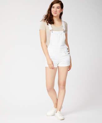 Dollhouse Women's Short Overalls White - White Distressed Denim Shortalls - Juniors