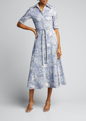 Theia Button-Front Metallic Stretch Cloque Full-Skirt Dress