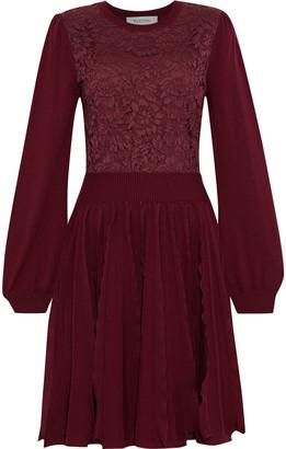 Valentino Corded Lace-paneled Ruffled Wool Dress