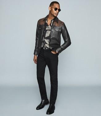 Reiss Diablo - Leather Jacket With Snake-effect Detail in Black/orange