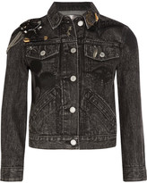 Marc Jacobs Cropped Embellished Appliquéd Denim Jacket - Black