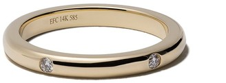 Ef Collection 14kt Yellow Gold Three Diamond Band