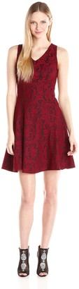 Karen Kane Women's Bonded Lace V-Neck Dress