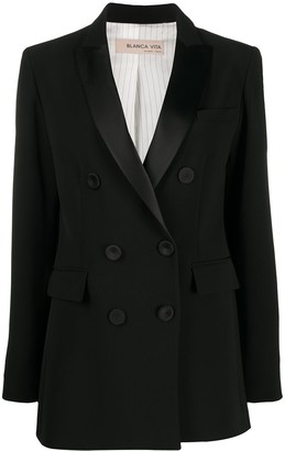Blanca Vita Contrast Lapel Double-Breasted Suit Jacket