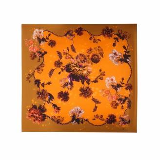 Klements Medium Scarf In Gothic Floral Print Ochre
