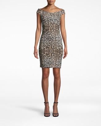 Nicole Miller Leopard Off The Shoulder Dress
