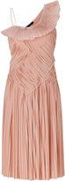 Donna Karan Blush One Shoulder Pleated Dress