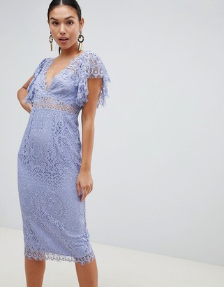 Asos Design DESIGN Lace Pencil Midi Dress With Frill Sleeve