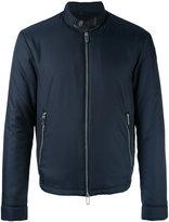 Emporio Armani zipped bomber jacket - men - Polyester/Lamb Skin - XXL