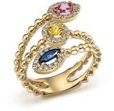 Bloomingdale's Multi Sapphire and Diamond Beaded Coil Ring in 14K Yellow Gold - 100% Exclusive