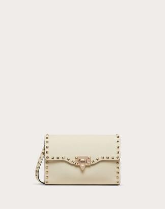 Valentino Small Rockstud Grainy Calfskin Crossbody Bag Women Saddle Brown Calfskin 100% OneSize