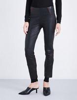 Haider Ackermann Contrast-trim tapered leather leggings