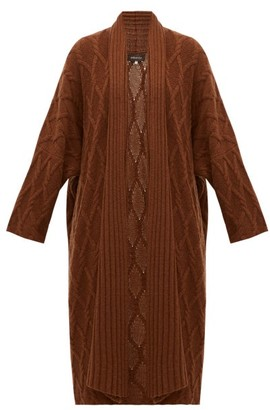 eskandar Cabled Waterfall Lapel Cashmere Cardigan - Womens - Brown