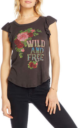 Chaser Wild & Free Rose Graphic Flutter-Sleeve Tee